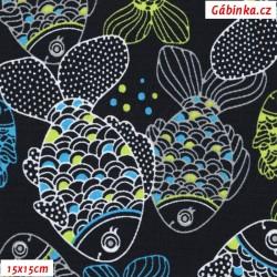 Kočárkovina MAT, Kapříci na modré, šíře 160 cm, 10 cm, Atest 1