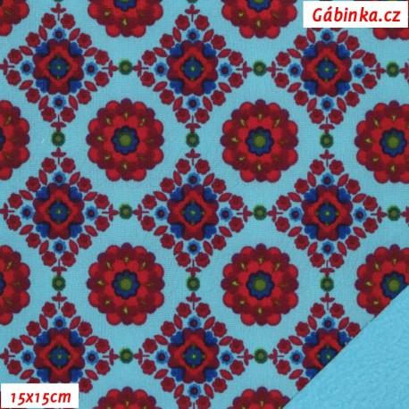 Softshell - Květinový kaleidoskop na tyrkysové, 15x15 cm
