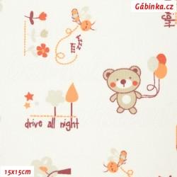Plátno - Medvídci s balónky oranžoví na bílé, šíře 160 cm, 10 cm