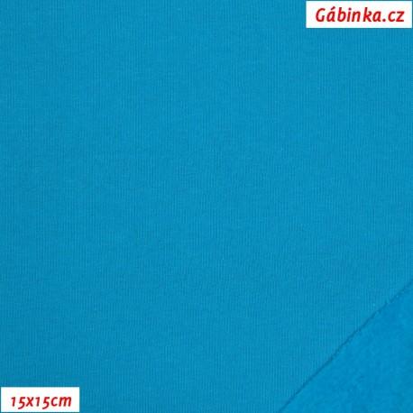 Teplákovina počesaná - tyrkysová B-051, 15x15 cm