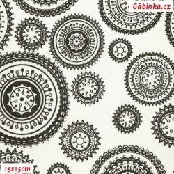 Plátno - Mandaly černé na bílé, 15x15 cm