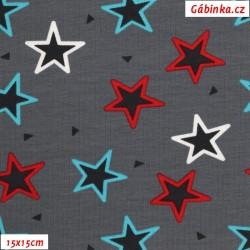 Úplet s EL - Barevné hvězdy na šedé, 15x15 cm