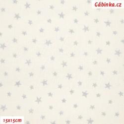 Plátno vánoční - Stříbrné hvězdičky na bílé, 15x15 cm