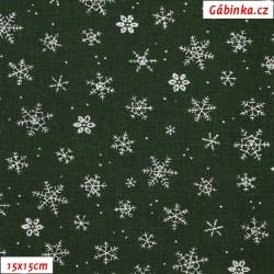 Plátno vánoční - Stříbrné vločky na zelené, šíře 140 cm, 10 cm