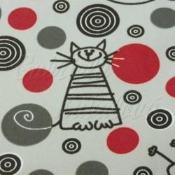 Kočárkovina MAT, Kočky na šedé s červenými kolečky, šíře 160 cm, 10 cm, Atest 1