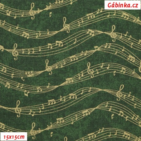 Plátno vánoční - Zlaté noty na zelené, 15x15 cm