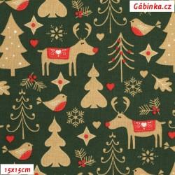 Plátno vánoční - Sobi a stromky na zelené, 15x15 cm