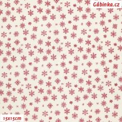 E - Plátno vánoční - Tmavě červené vločky na bílé, šíře 140 cm, 10 cm