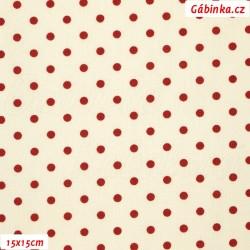 Plátno vánoční - Tmavě červené puntíky na bílé, šíře 140 cm, 10 cm