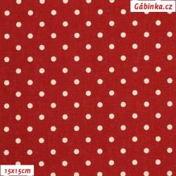 Plátno vánoční - Bílé puntíky na tmavě červené, šíře 140 cm, 10 cm