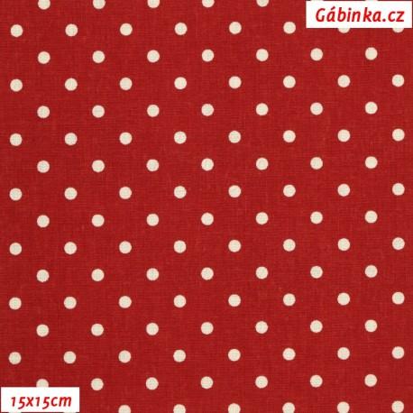 Plátno vánoční - Bílé puntíky na tmavě červené, 15x15 cm