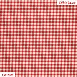 Plátno vánoční - Malé kostičky tmavě červené, 15x15 cm
