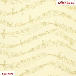 Plátno vánoční - Zlaté noty na smetanové, šíře 140 cm, 10 cm
