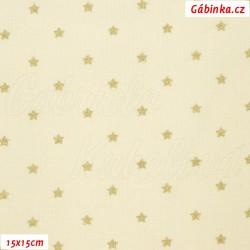 Plátno vánoční - Zlaté hvězdičky na přírodní, šíře 140 cm, 10 cm