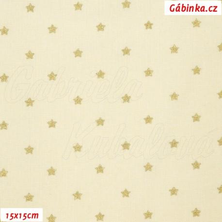 Plátno vánoční - Zlaté hvězdičky na přírodní, 15x15 cm