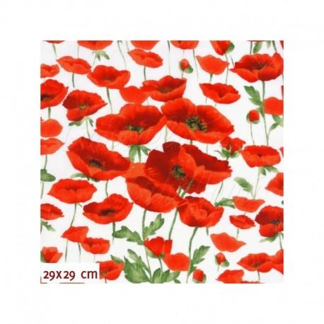 Režné plátno - Vlčí máky červené, 29x29 cm