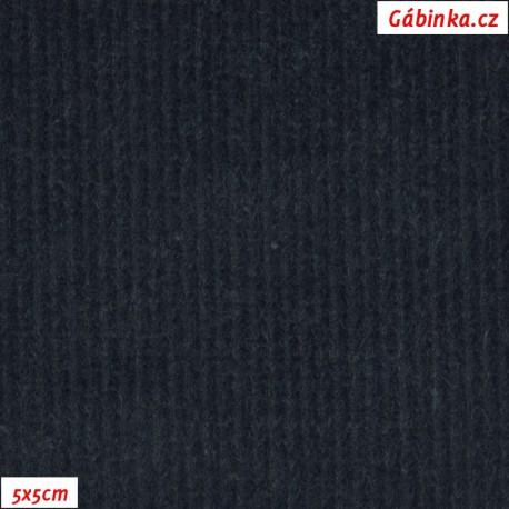 Manšestr, prací kord - elastický, tmavě šedomodrý, pohled 5x5 cm