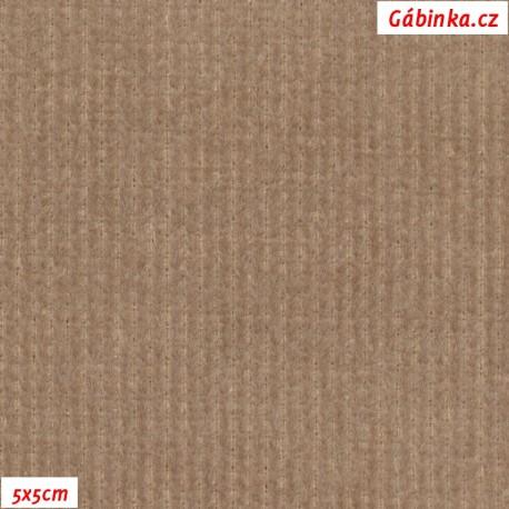 Manšestr, prací kord - elastický světle hnědý, pohled 5x5 cm