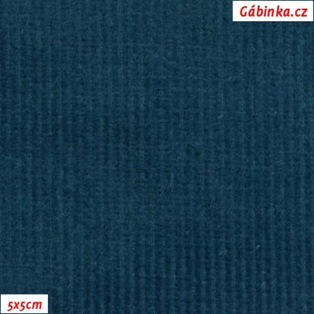 Manšestr, prací kord - elastický, petrolejový 636, pohled 5x5 cm