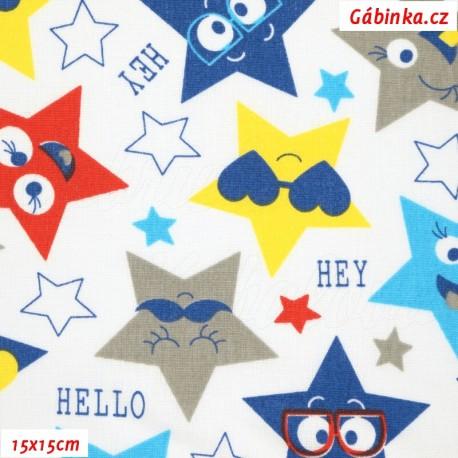 Plátno - Barevné hvězdy HEY a bílé, Pohled: 15x15 cm