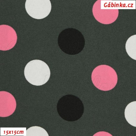Kočárkovina MAT, Střední puntíky bílé, růžové, černé na tm. šedé, šíře 160 cm, 10 cm, Atest 1
