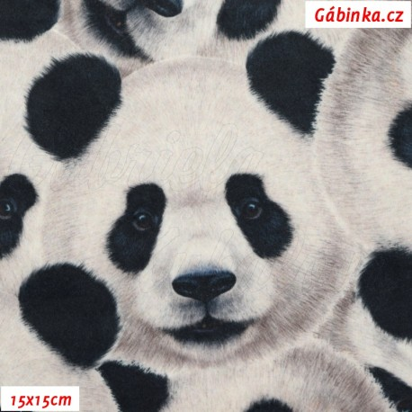 Hladký plyš MINKY Digitální tisk - Pandy, 15x15 cm