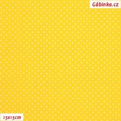 Plátno - Puntíky MINI bílé na sytě žluté, šíře 150 cm, 10 cm, Atest 1