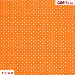 Plátno - Puntíky MINI bílé na oranžové, šíře 150 cm, 10 cm