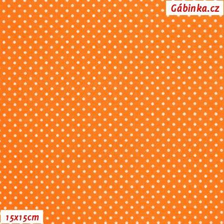 Plátno - Puntíky MINI bílé na oranžové, 15x15 cm