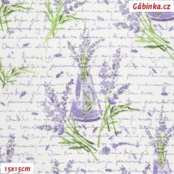 Plátno - Levandule s fialovými nápisy, 15x15 cm