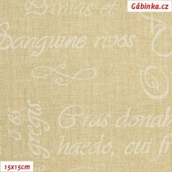 Plátno - Kolekce béžová - Bílé nápisy, 15x15 cm