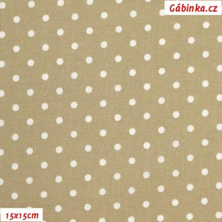 Plátno - Kolekce béžová - Puntíky, 15x15 cm