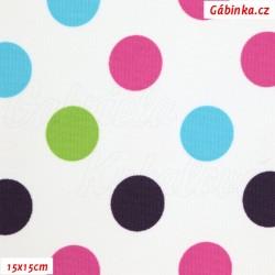 Kočárkovina MAT, Střední puntíky růžové fialové zelené a tyrkysové na bílé, šíře 160 cm, 10 cm, Atest 1