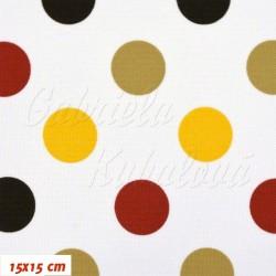 Kočárkovina MAT, Střední puntíky žluté červené tm. hnědé a béžové na bílé, šíře 160 cm, 10 cm, Atest 1