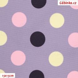 Kočárkovina MAT, Střední puntíky tm. fialové, růžové, smetanové na sv. fialové, šíře 160 cm, 10 cm, Atest 1