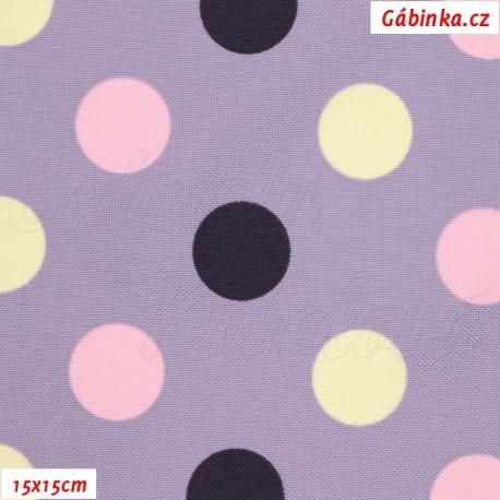 Kočárkovina MAT, Střední puntíky tm. fialové, růžové, smetanové na sv. fialové, šíře 160 cm, pohled 15x15cm