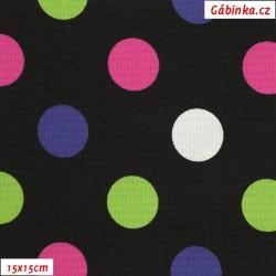Kočárkovina MAT, Střední puntíky zelené, růžové, fialové a bílé na černé, šíře 160 cm, 10 cm, Atest 1