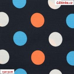 Kočárkovina MAT, Střední puntíky bílé, oranžové, sv. modré na tm. modré, šíře 160 cm, 10 cm, Atest 1