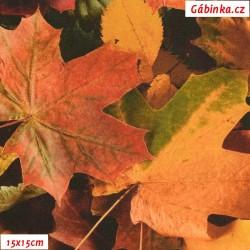 Plátno SOFT - vyšší gramáž, Podzimní listy - digitální tisk, šíře 140 cm, 10 cm