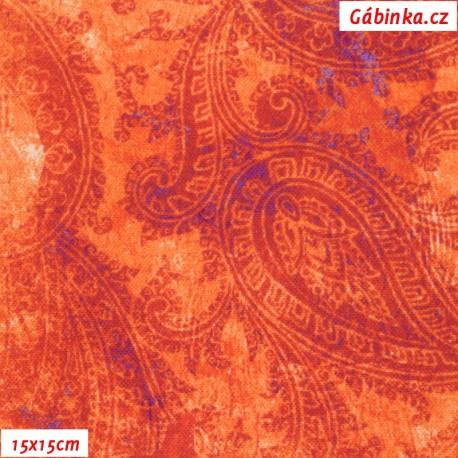 Plátno STOF - vyšší gramáž, Indický vzor oranžový - digitální tisk, 15x15 cm