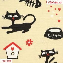 Režné plátno - Kočky s kostí na smetanové, 15x15 cm