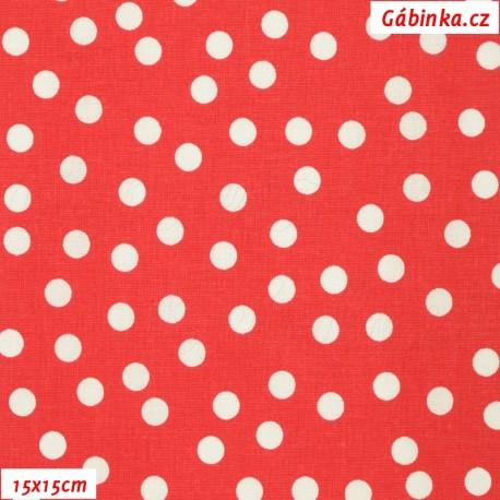 Plátno - Rozsypané puntíky bílé na červené, 15x15 cm