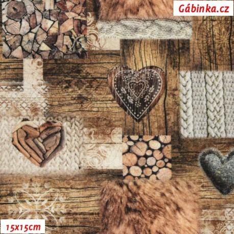 Plátno STOF Oisans- Dřevo a srdce, 15x15 cm