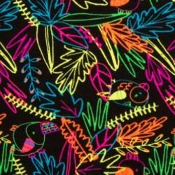 Úplet s EL - NEON mix listů, ptáček, ATEST 1, šíře 150 cm, 10 cm