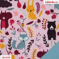 Zimní softshell - Lesní zvířátka na růžové, 15x15 cm