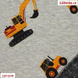 Warmkeeper - Traktory a bagry na šedém melíru, šíře 150 cm, 10 cm