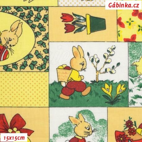 Plátno - Velikonoční zajíčci patchwork, 15x15 cm