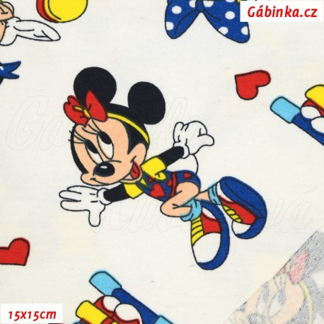 Teplákovina s EL - Mickey-Mouse s Minnie na bílé, ATEST 2, LICENCE, 15x15 cm