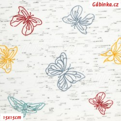 Úplet s EL - Barevní motýlci na italském melíru, ATEST 1, šíře 150 cm, 10 cm