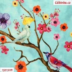 Úplet s EL Digitální tisk - Ptáčci na rozkvetlých stromech na mentolové, ATEST 2, šíře 160 cm, 10 cm